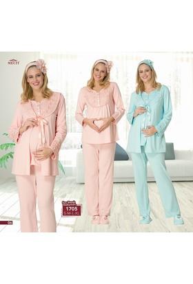 Mecit Dantel Yaka 3 Lü Lohusa Pijama Takım