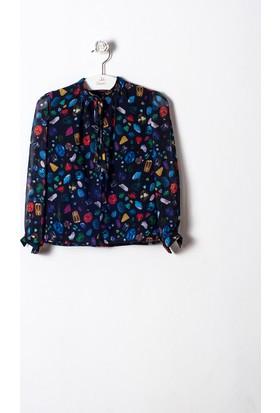 Goose Kız Çocuk Önü Bağcıklı Pırlanta Gömlek