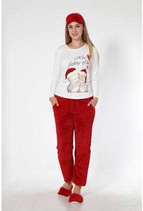 Sendy Sarılan Penguenler Kırmızı Polar Pijama Takımı