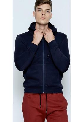Phazz Brand Erkek Lacivert Fermuarlı Sweatshirt