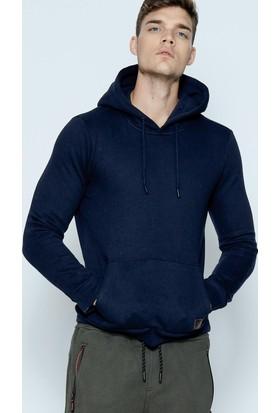 Phazz Brand Erkek Lacivert Basic Kapüşonlu Sweatshirt