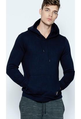 Phazz Brand Erkek Siyah Basic Kapüşonlu Sweatshirt