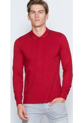 Adze Erkek Bordo Polo Yaka Basic Sweatshirt