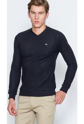 Adze Erkek Siyah Basic V Yaka Sweatshirt