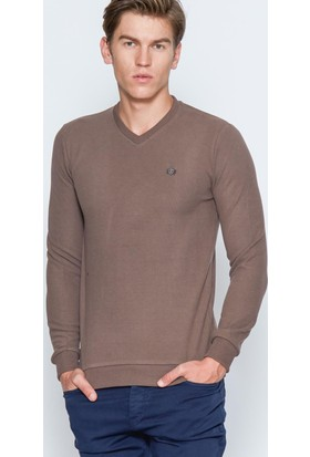 Adze Erkek Vizon Basic V Yaka Sweatshirt