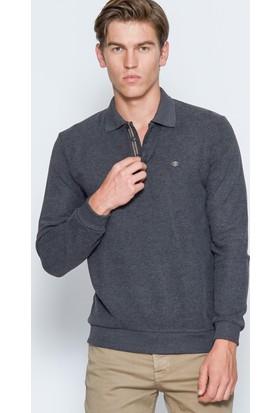 Adze Erkek Antrasit Basic Polo Yaka Sweatshirt