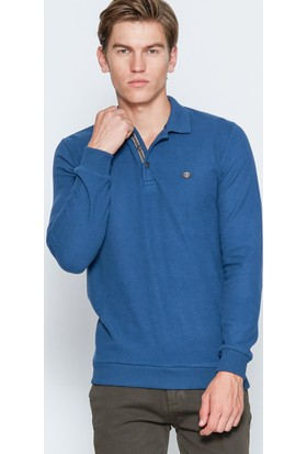 Adze Erkek Petrol Basic Polo Yaka Sweatshirt