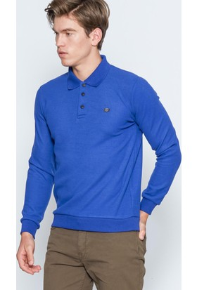 Adze Erkek Saks Basic Polo Yaka Sweatshirt