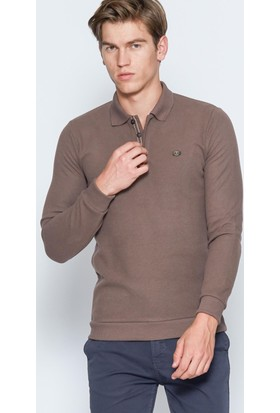 Adze Erkek Vizon Basic Polo Yaka Sweatshirt
