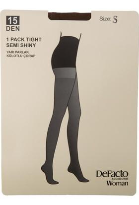 DeFacto Kadın 15 Denye Parlak Külotlu Çorap Kahverengi