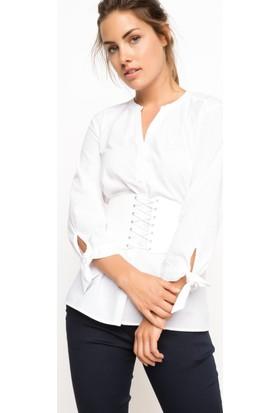 DeFacto Kadın Kolları Bağlamalı Gömlek Beyaz