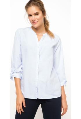 DeFacto Kadın Kolları Bağlamalı Gömlek Mavi