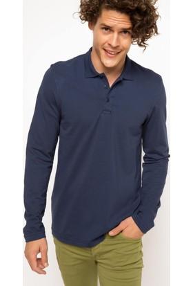 DeFacto Erkek Basic Polo Sweatshirt Lacivert