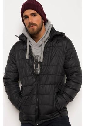 DeFacto Erkek Kapşonlu Şişme Mont Siyah