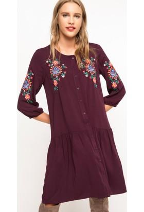 DeFacto Kadın İşlemeli Elbise Mor