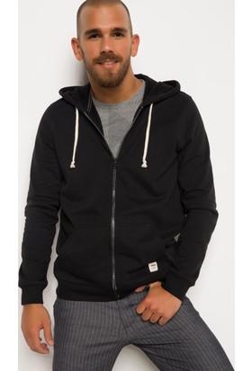 DeFacto Erkek Basic Kapşonlu Sweatshirt Hırka Siyah
