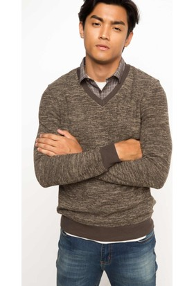 DeFacto Erkek Gömlek Yakalı Sweatshirt Kahverengi