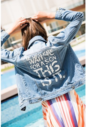 Zdn Jeans Kadın Denim Sırt Baskılı Ceket M11