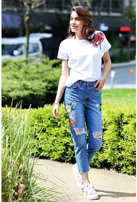 Zdn Jeans Kadın Yüksek Bel Nakışlı Girlfriend Jean Pantolon W992