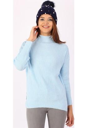 Zdn Jeans Kadın Mavi Triko Kazak T1801
