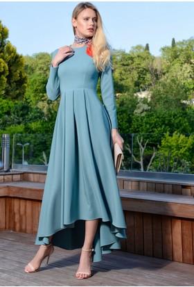 İroni Uzun Kollu Pilili Uzun Elbise