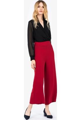 İroni Yüksek Bel Kesimli Kırmızı Pantolon