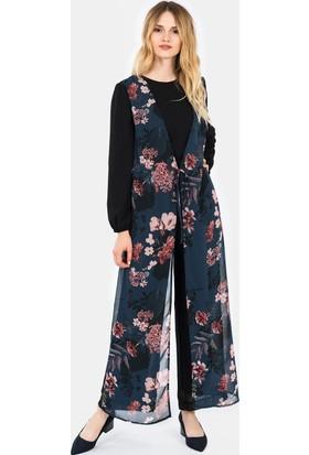 İroni Lacivert Tulum Elbise