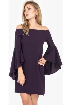 İroni Kolları Uzun Volanlı Elbise