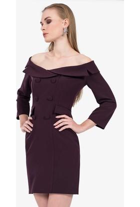İroni Geniş Yakalı Blazer Elbise