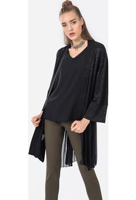 İroni Jakar Siyah Kimono