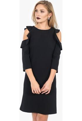 İroni Omuz Fırfırlı Elbise
