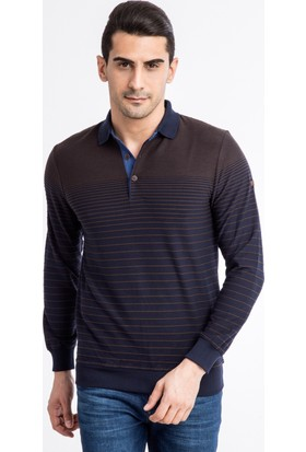 Kiğılı Polo Yaka Çizgili Slim Fit Sweatshirt