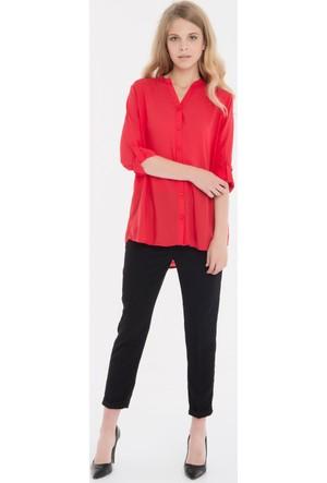 Collezione Kadın Gömlek Uzun Kol Storn Kırmızı