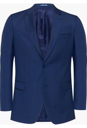 Hateko Altınyıldız Mavi Eğik Çizgi Desenli Slim Fit Yün Erkek Ceket
