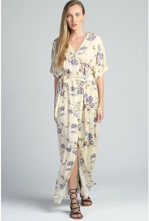 Yukimay Newyork Pudra Atlas Kumaş Astarlı Elbise