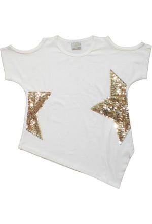 Dobakids Kız Çocuk Pul Payet Yıldız İşlemeli Bluz