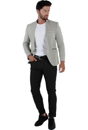 Brango 30063-1 Yakasız Desenli Spor Siyah Ceket