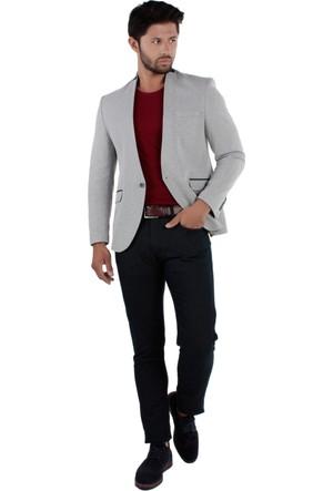 Brango 30063-3 Yakasız Desenli Spor Lacivert Ceket