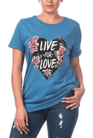 Rmg Kalp Desenli Büyük Beden T-Shirt İndigo