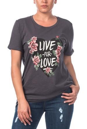 Rmg Kalp Desenli Büyük Beden T-Shirt Füme