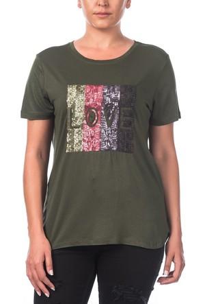 Rmg Pul Detaylı Love Büyük Beden T-Shirt Haki