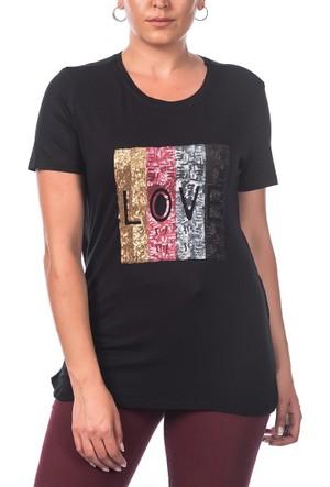 Rmg Pul Detaylı Love Büyük Beden T-Shirt Siyah