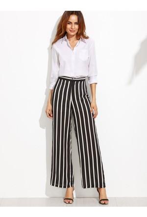 Yok Yok Siyah Beyaz Çizgili Bol Pantolon