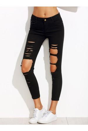Yok Yok Siyah Parçalanmış Kot Pantolon