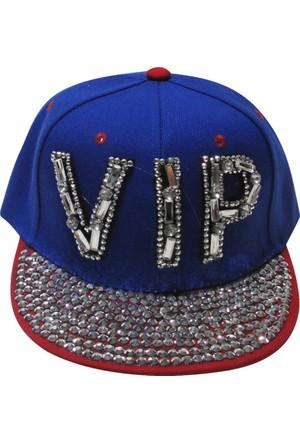 Laslusa Kırmızı Siperli Taşlı Vıp Yazılı Hiphop Şapka