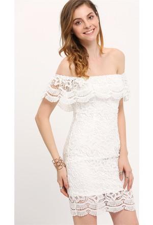 Yok Yok Beyaz Düşük Omuz Dantel Elbise