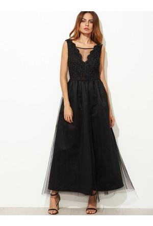 Yok Yok Siyah V Yaka İşlemeli Tül Detaylı Elbise