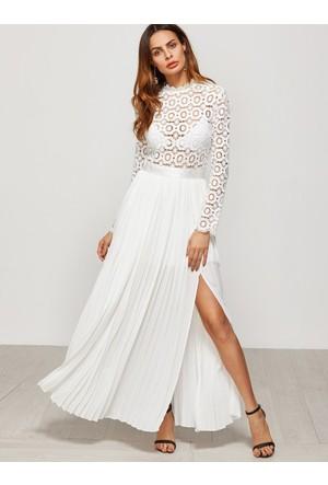 Yok Yok Beyaz Üstü Güpür Tasarım Uzun Elbise