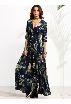 Yok Yok Çiçek Desenli Düğmeli Uzun Elbise