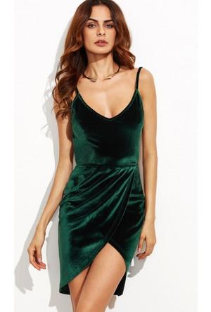 Yok Yok Koyu Yeşil Asimetrik Sırt Dekolteli Kadife Elbise
